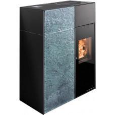 Pelletofen CATANIA-RLU 441.08-ST  Speckstein antik,  Grundfarbe schwarz, zertifiziert RAUMLUFT-UNABHÄNGIG