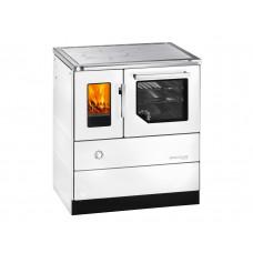 Herd HSD 75.5-SF weiß mit Sichtfenster, Stahlkochplatte, Backrohr und Rauchrohranschluss rechts =