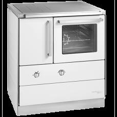 HSDZ 75.5 Grundfarbe weiß Email, Sockelblende Edelstahl, Backrohr rechts, Stahlkochplatte mit RR oben