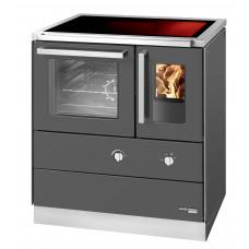 HSDZ 75.5-C-SF, Grundfarbe anthrazit Email, mit Sichtfenster, Sockeblende Edelstahl, Backrohr links, Glaskeramikplatte =