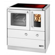 HSDZ 75.5-C-SF, Grundfarbe weiß Email, mit Sichtfenster Sockelblende Edelstahl, Backrohr links, Glaskeramikplatte =
