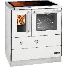 HSDZ 75.5-C-SF, Grundfarbe weiß Email, mit Sichtfenster, Sockelblende Edelstahl, Backrohr rechts, Glaskeramikplatte =