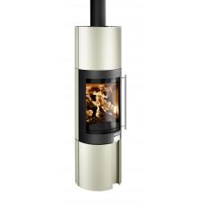 Kaminofen KALIUS-II 286.12-G Grundfarbe perl-beige, Tür und Topplatte perl-schwarz, grande (1550 mm hoch)