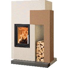 Kit de cheminée ASCIM-II avec béton d'accumulation , foyer ESPRIT-IV 185.16, béton non traité, coloris personnalisable