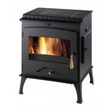 Poêle a bois chauffage centrale ARKTIC 12 Noir avec plaque de cuisson 706.15-WT-C