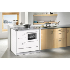 Cuisinière DH 85.5 blanc, plaque de cuisson acier, four et raccordement à droite
