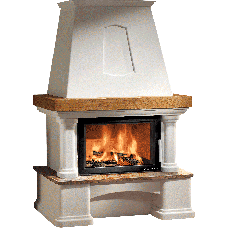 Kit de cheminée GENF-III RAINBOW, foyer KOMFORT-IV 180.18 noir, béton non traité, coloris personnalisable