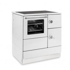 Cuisinière HA 75.5-A blanc, plaque de cuisson en acier, four et raccordement à gauche=