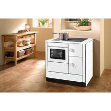Cuisinière HA 85.5-A blanc, plaque de cuisson en acier, four et raccordement à gauche