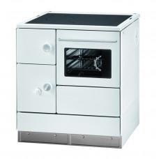 Cuisinière HA 75.5-A blanc, plaque de cuisson en acier, four et raccordement à droite=