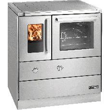HSDZ 75.5-SF easy inox, porte vitrée, plaque de cuisson acier, four et raccordement coté droit