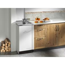 Cuisinière HSZ 40.4, blanc,  Plaque de cuisson en acier poncé, couvercle blanc