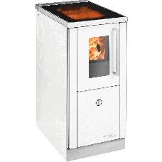 Cuisinière HSD 40.5 SF blanc, porte vitrée, Contour Blanc, Plaque de cuisson en vitro céramique, socle inox