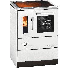 Cuisinière HSD 60.5-C-SF blanc, porte vitrée, plaque de cuisson vitro céramique, four et raccordement coté droit
