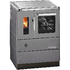 Cuisinière HSD 60.5-SF anthracite, porte vitrée, plaque de cuisson acier, four et raccordement coté droit