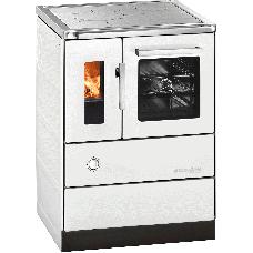 Cuisinière HSD 60.5-SF blanc, porte vitrée, plaque de cuisson acier, four et raccordement coté droit