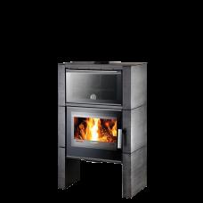 Poêle à bois Newham easy 347.15-C avec four, céramique noir structuré, perle anthracite