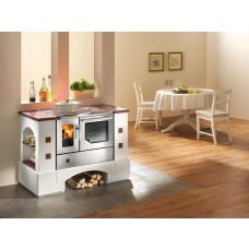 Cuisinière en kit PLANAI.5 avec BSH 75.5.-SF inox, porte vitrée, plaque de cuisson en acier poncé, four et raccordement à droite, plaques fixes cotto