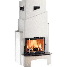 Kit de cheminée STRASSBURG-II, foyer PRESTIGE-II 181.18 noir, béton non traité, coloris personnalisa