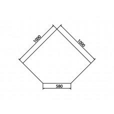 Plaque de sol en verre sécurite avec bords biseautés 45°, 1000x1000x580 mm