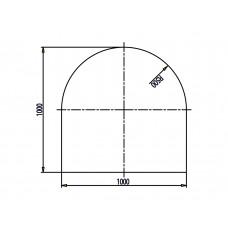 Plaque de sol en verre sécurite carré avec arc, 1000x1000/R=580 mm