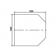 Plaque de sol en verre sécurite carré 2 coins coupés 45°, 1000x1000 mm