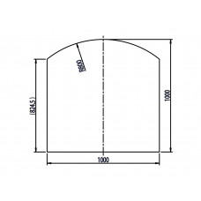 Plaque de sol en verre sécurite carré avec segment d´arc, 1000x1000/R=800 mm
