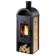 Poêle a bois chauffage centrale BOTAS-WT Noir/Carreau Beige