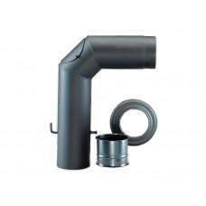 Rauchrohrgarnitur Ø150/2 schwarz (90° Knie mit Reinigungsöffnung, Drosselklappe, doppeltes Wandfutter, Rosette)