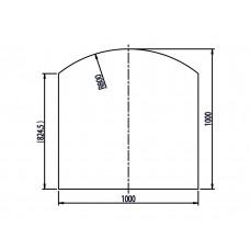 Unterleg-Platte Klarglas Form E 1000x1000mm/R=800  mit umlaufendem Aufdruck