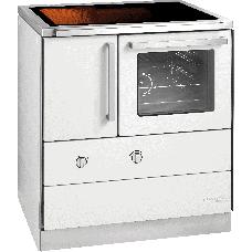 HSDZ 75.5-C, Grundfarbe weiß Email, Sockelblende Edelstahl, Backrohr rechts, Glaskeramikplatte =