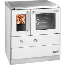 HSDZ 75.5 SF Grundfarbe weiß Email, mit Sichtfenster, Sockelblende Edelstahl, Backrohr rechts, Stahlkochplatte mit RR oben